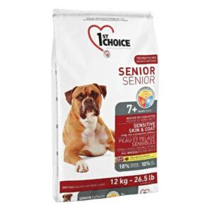 1st Choice Senior hundefoder Lam & Brune Ris, 12 kg.
