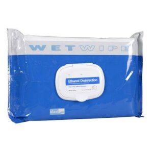 Overfladedesinfektion, Wet Wipe, Maxi, med ethanol, uden sæbe, 70% alkohol