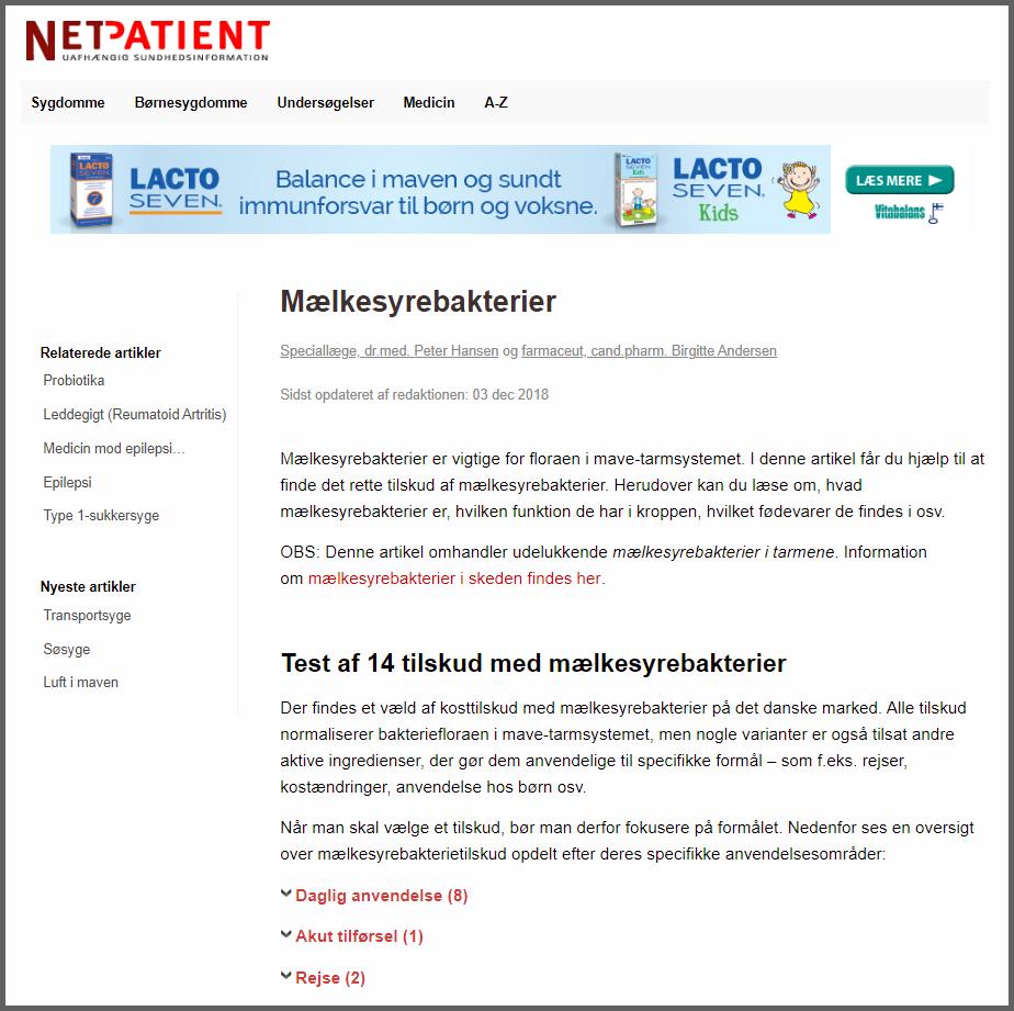 Sponsorerede annoncer på NetPatient,dk